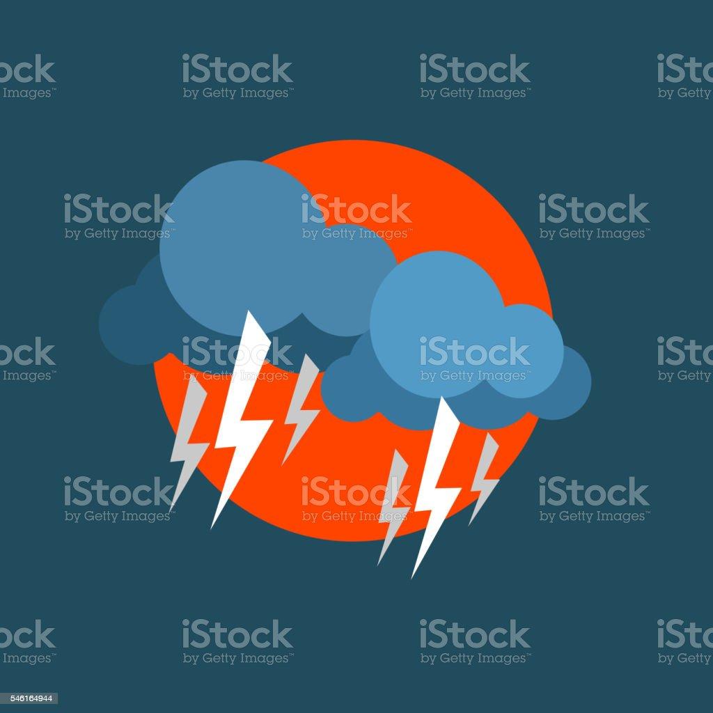 Strong Lightning Storm Natural Force Sticker vector art illustration