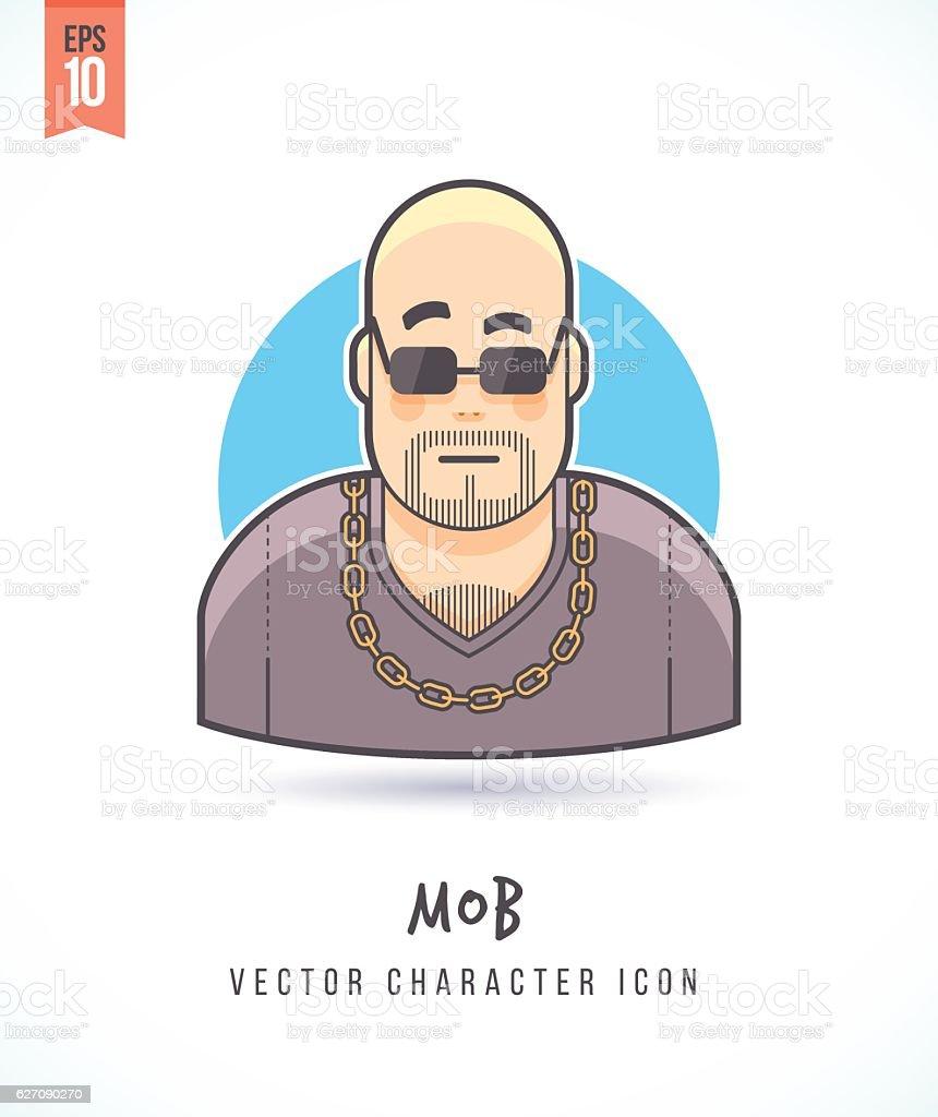 Strong looking thug man Mob illustration vector art illustration