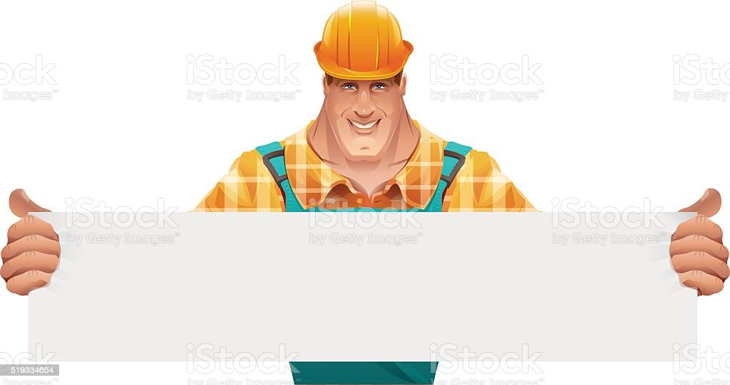 Strong male worker holding blank banner. Worker in helmet vector art illustration