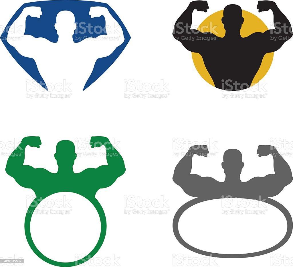 Strong man emblem vector art illustration