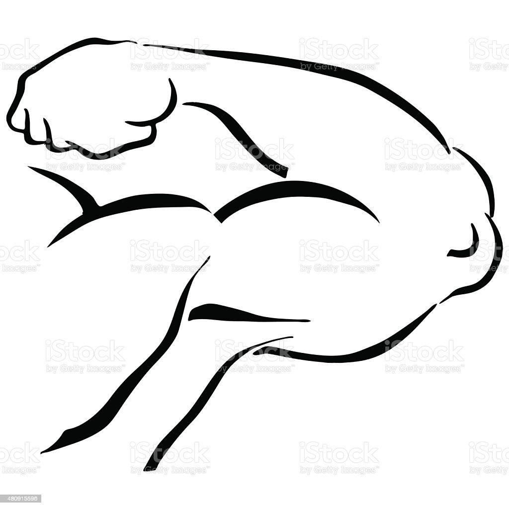 Strong Man Flexing Arm vector art illustration