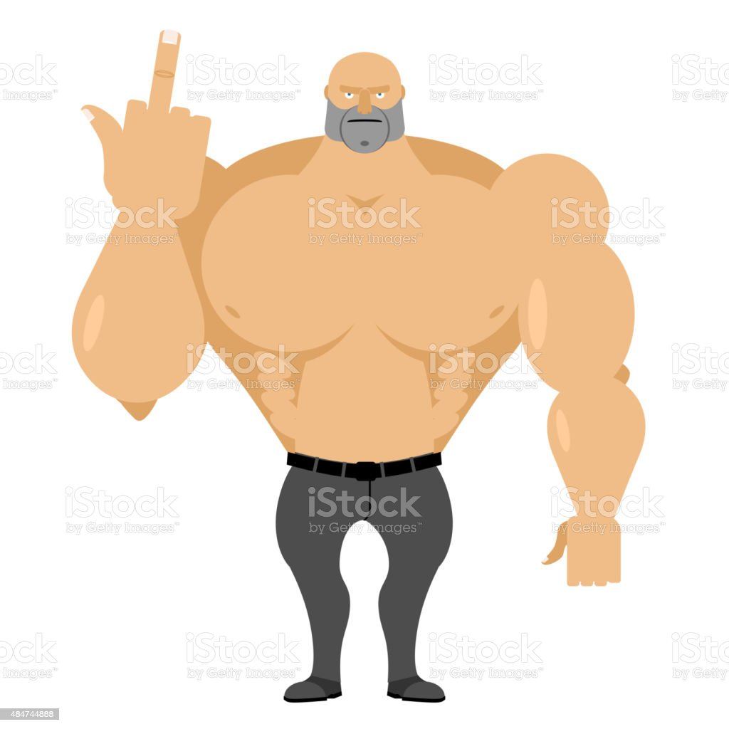 Strong man in jeans with big muscles shows fuck. vector art illustration