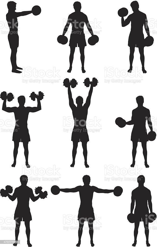 Strong man lifting heavy dumbbells royalty-free stock vector art