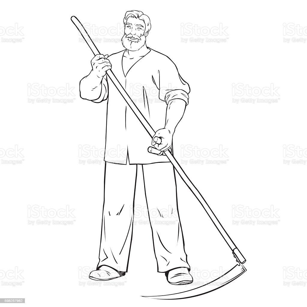 strong man mows the grass royalty-free stock vector art