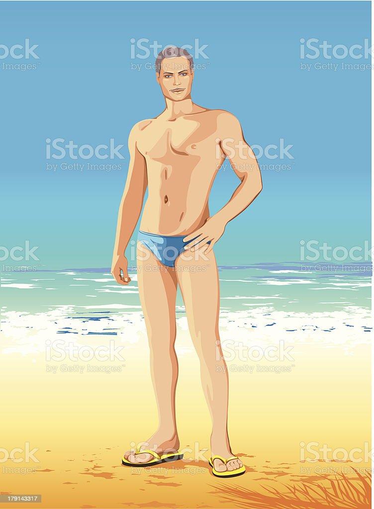 strong man on seacoast vector art illustration