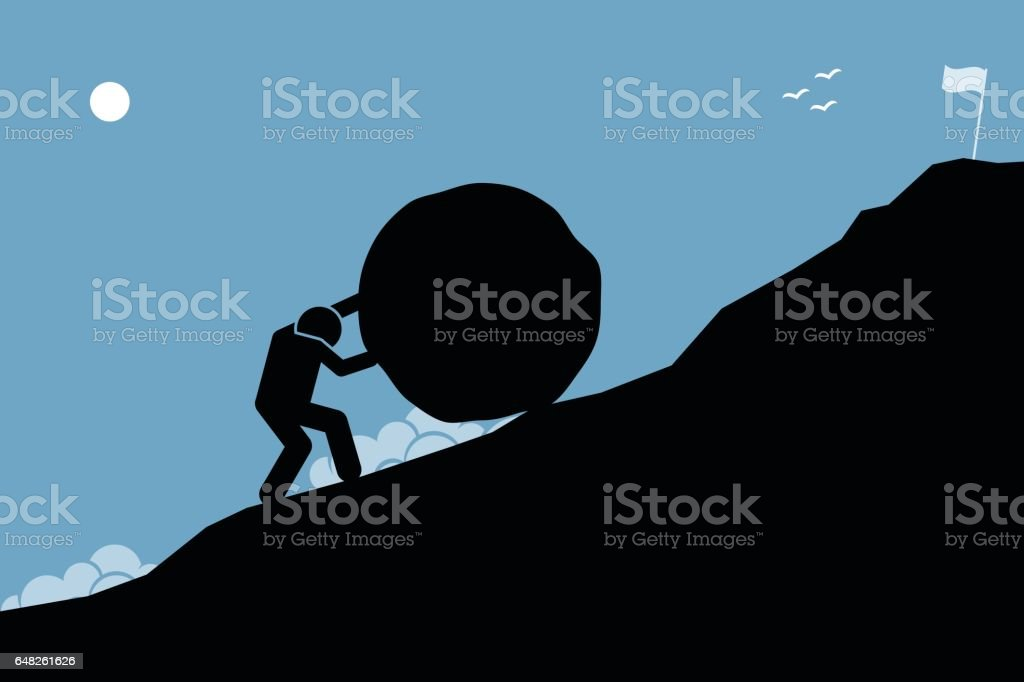 A strong man pushing a big rock up the hill to reach the goal on top. vector art illustration