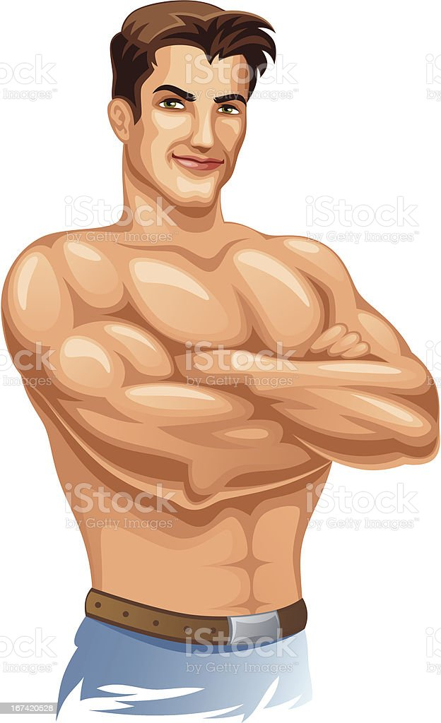 Strong man vector art illustration