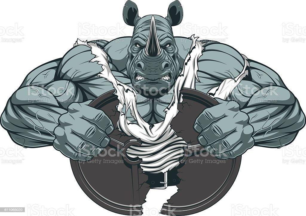 Strong rhinoceros athlete vector art illustration