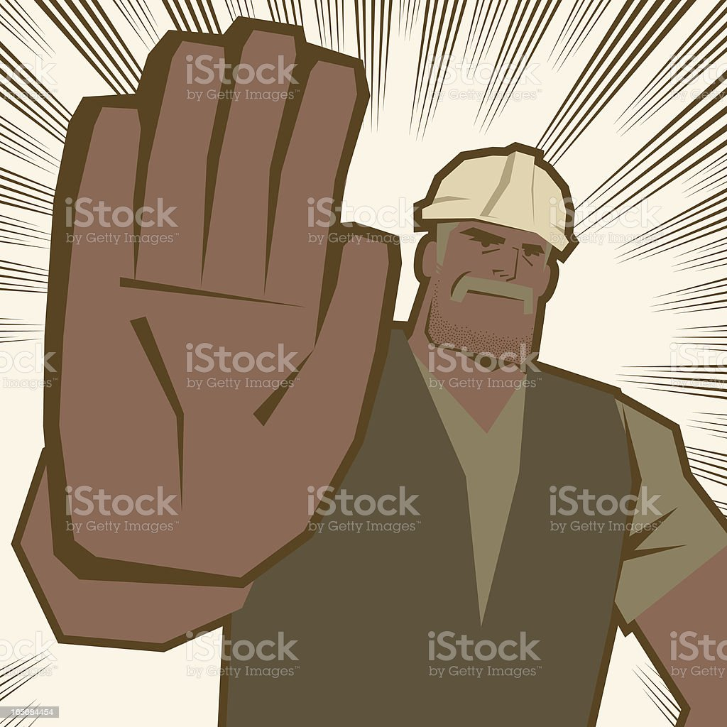 Strong senior worker making stop gesture vector art illustration