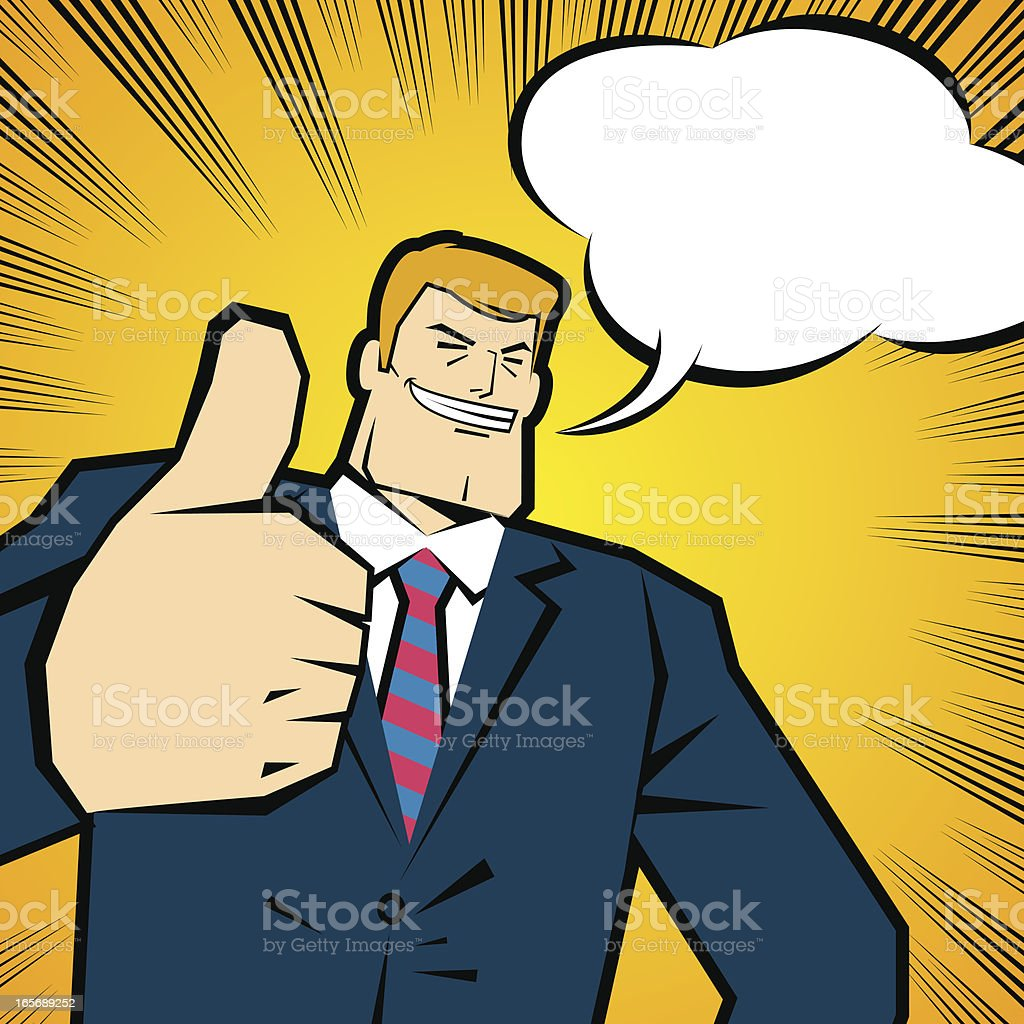 Strong smiling confident business people with thumbs up gesture vector art illustration