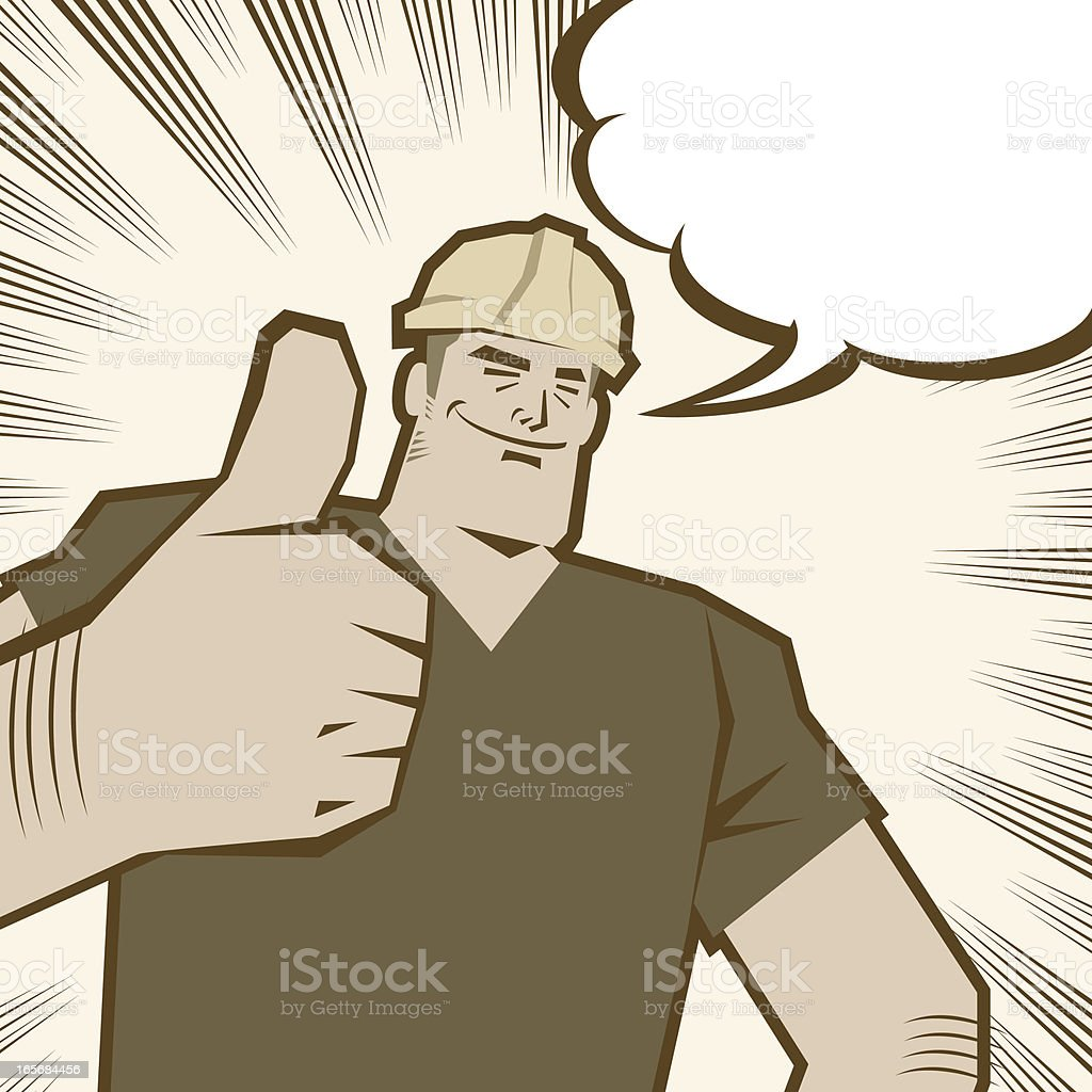 Strong smiling confident worker with thumbs up gesture royalty-free stock vector art