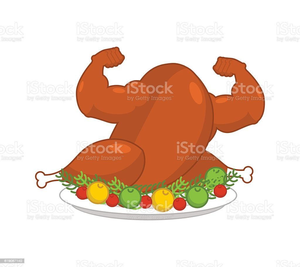 Strong turkey on plate with garnish. Powerful fowl Baked vector art illustration