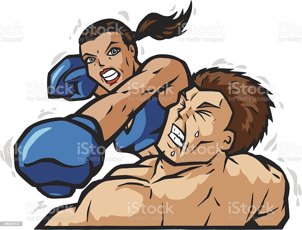 Strong woman gives man knockout punch illustration royalty-free stock vector art