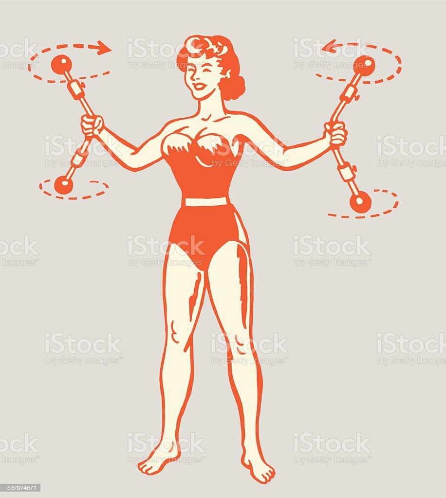 Strong Woman vector art illustration