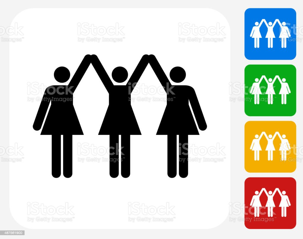 Strong Women Standing Icon Flat Graphic Design vector art illustration