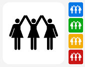 Strong Women Standing Icon Flat Graphic Design
