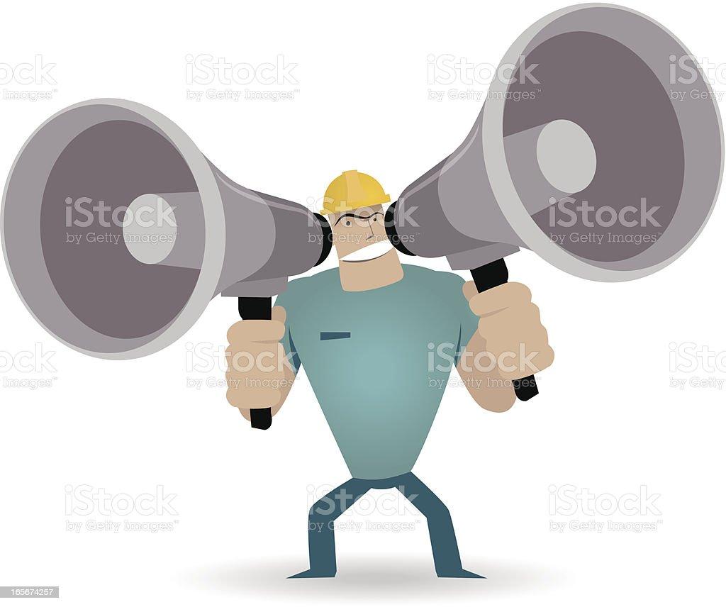 Strong Worker shouting trough two megaphones vector art illustration