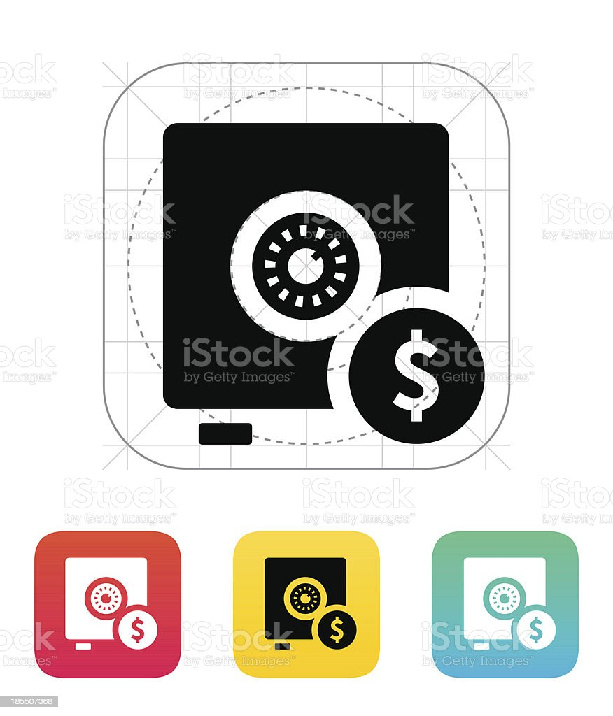 Strongbox with dollar sign icon. royalty-free stock vector art