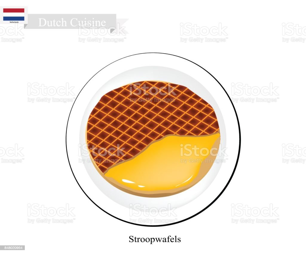Stroopwafels or Caramel Waffle, A Famous Dish of Netherlands vector art illustration