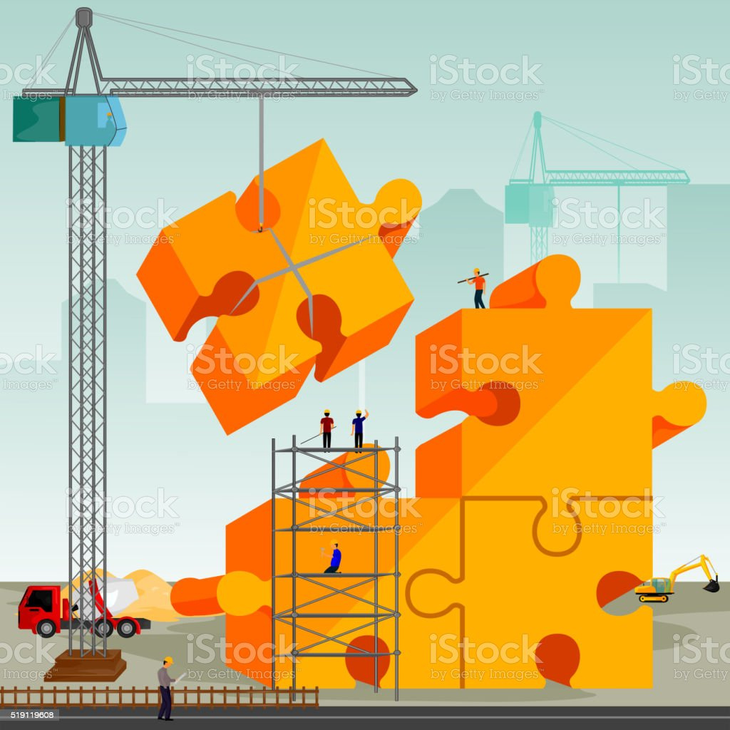 structure building of jigsaw puzzle vector art illustration