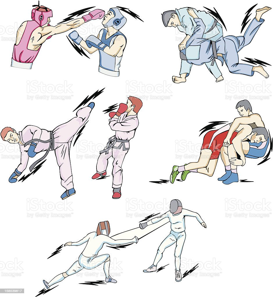Struggle and Fighting Sports vector art illustration
