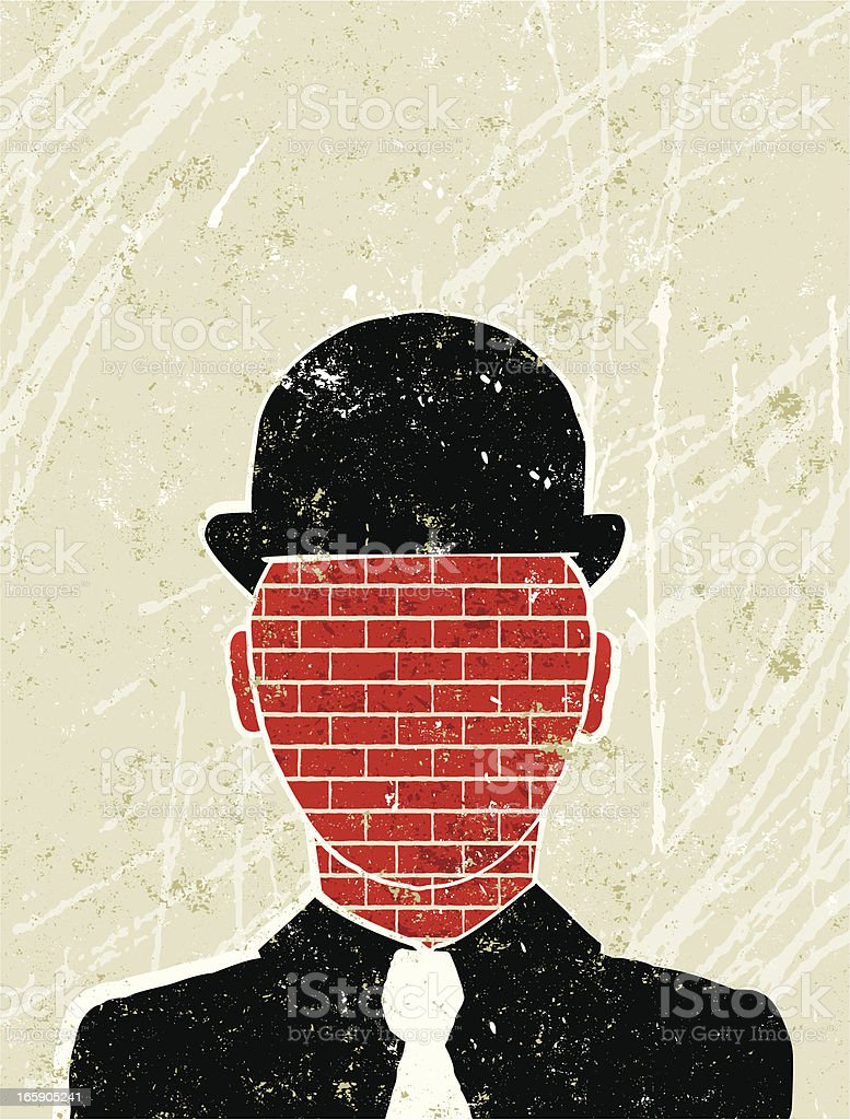 Stubborn Business Man with Brick Wall for a Face royalty-free stock vector art