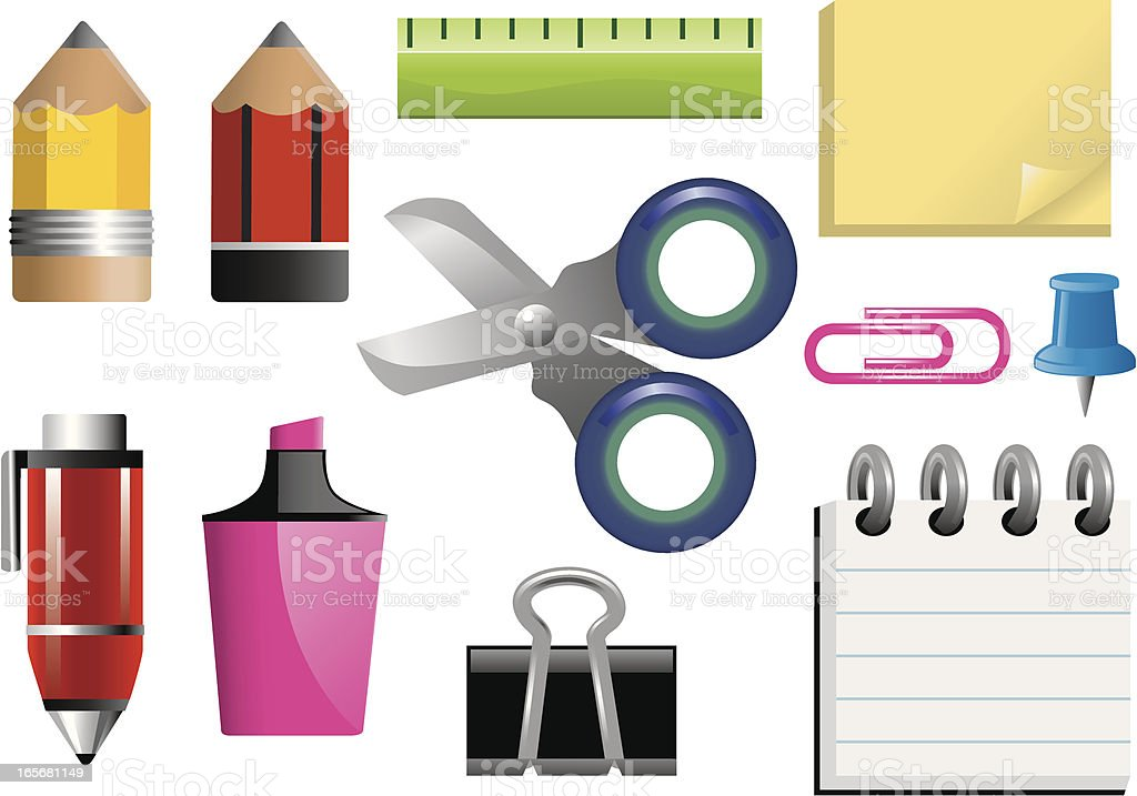 Stubby Stationery Icons royalty-free stock vector art