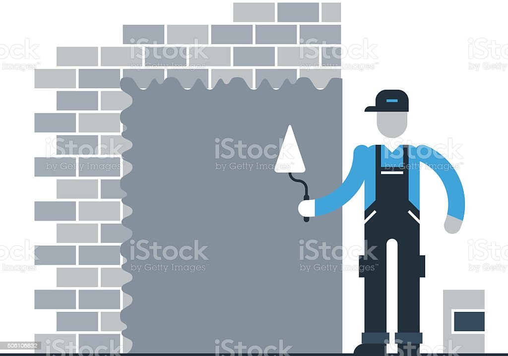 Stucco worker vector art illustration