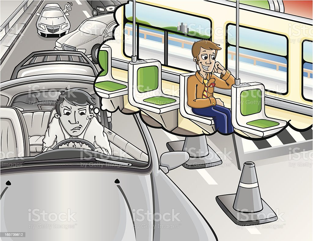 Stuck In traffic / Public transport royalty-free stock vector art