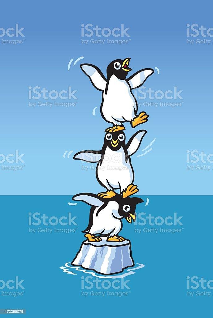 Stuck Penguins vector art illustration