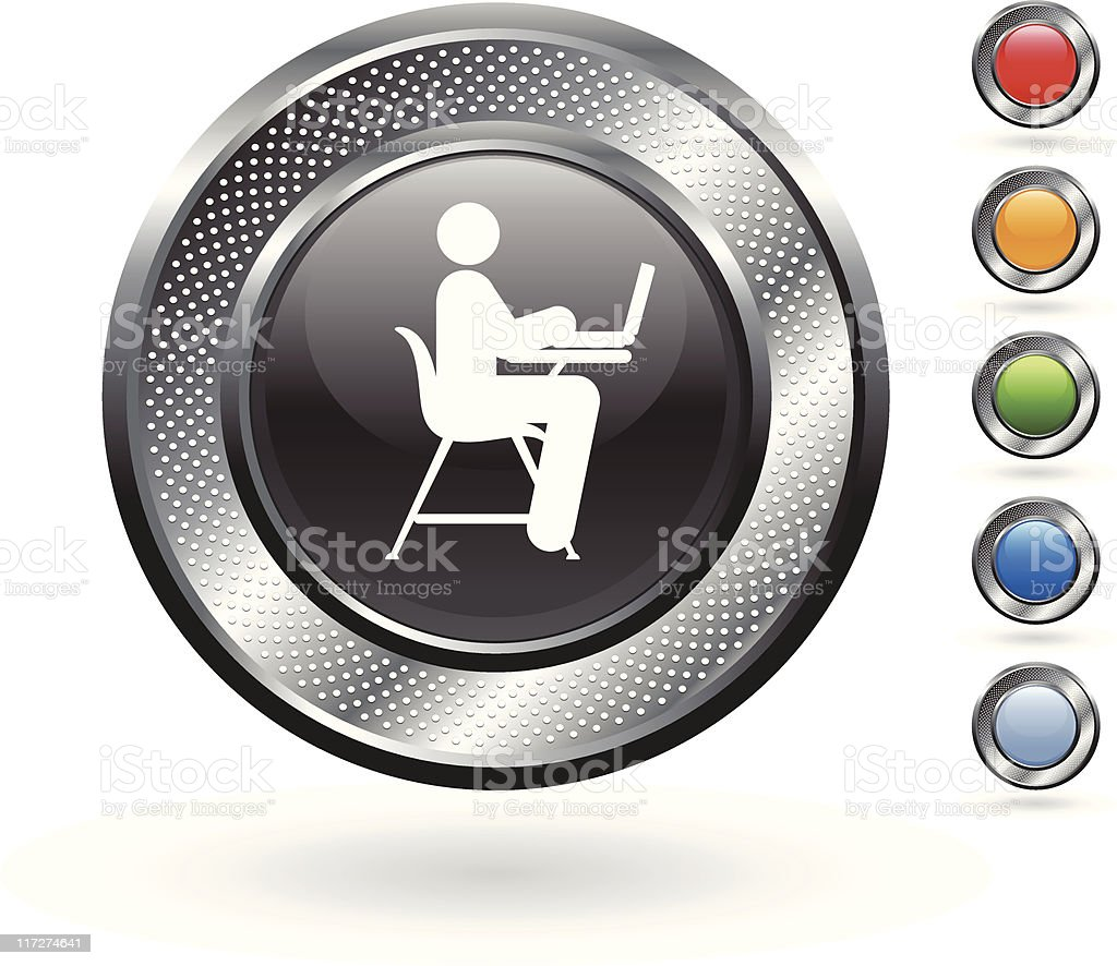 student and laptop royalty free vector art on metallic button royalty-free stock vector art