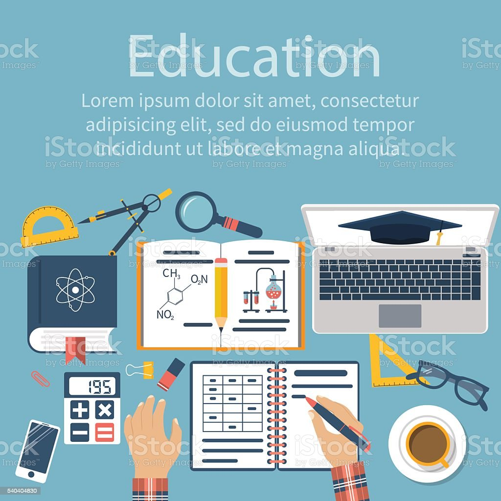 Student at table. Student learns, studying. Concept distance edu vector art illustration