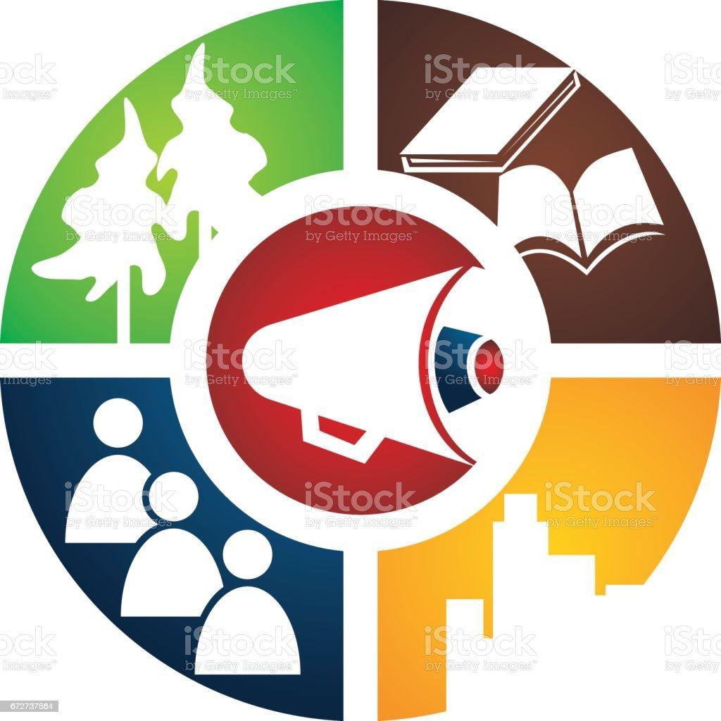 Student City Voice vector art illustration