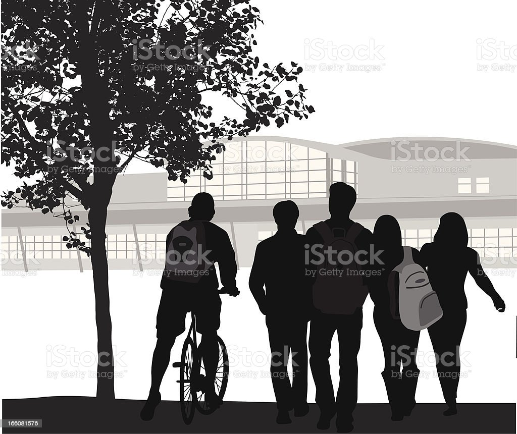 Student Crowd Vector Silhouette vector art illustration