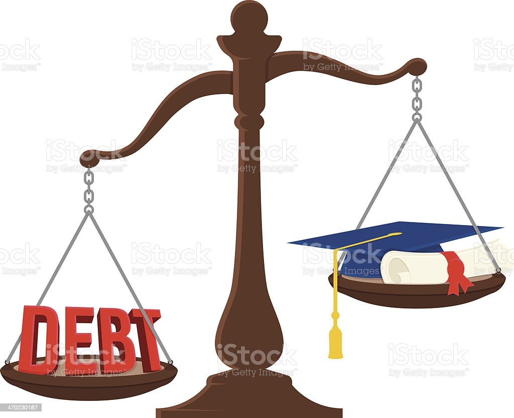 Student debt scale vector art illustration