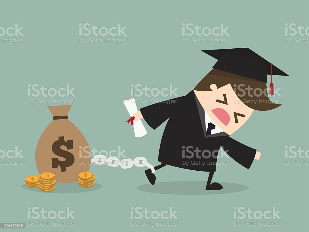 Student debt vector art illustration