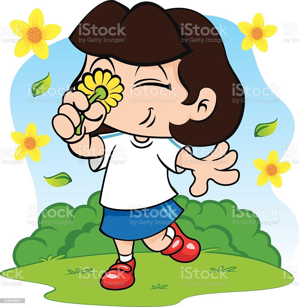 Student girl smelling flowers in the park vector art illustration