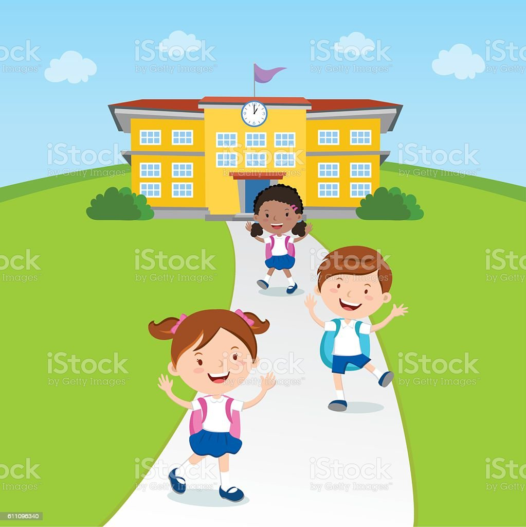 Student going home from school vector art illustration