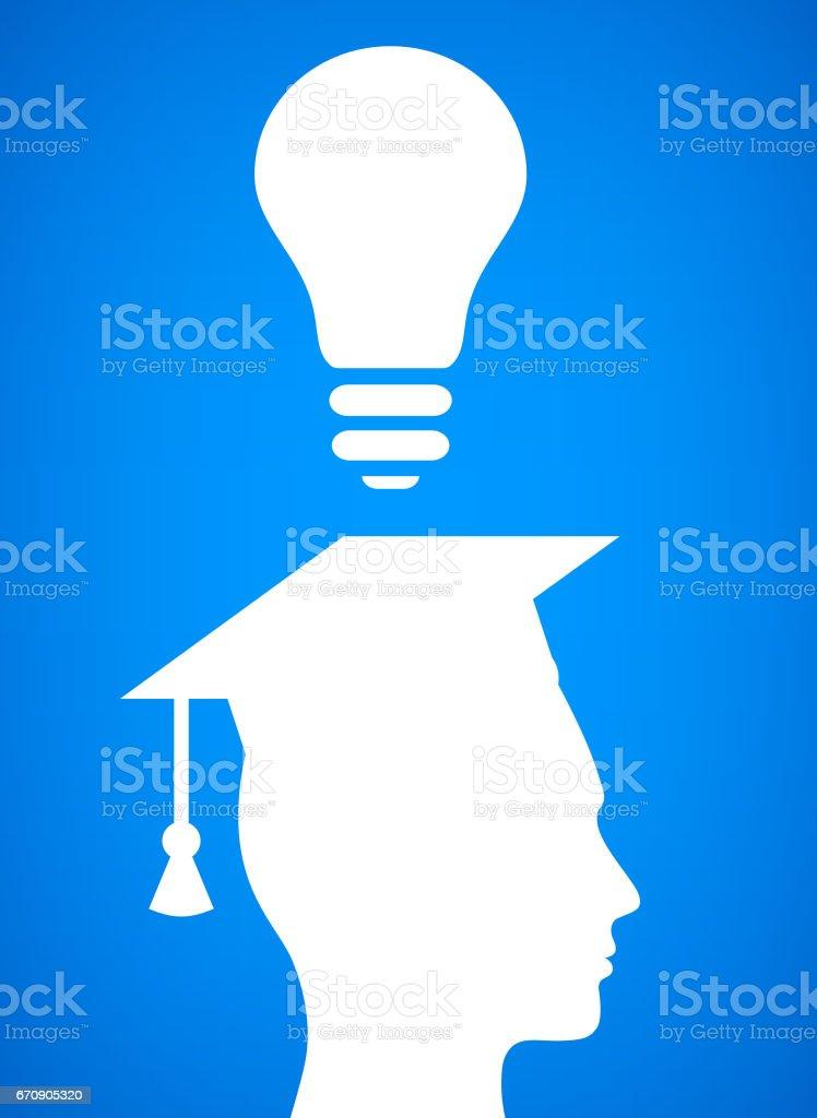Student Graduation Light bulb Conceptual Vector Illustration vector art illustration