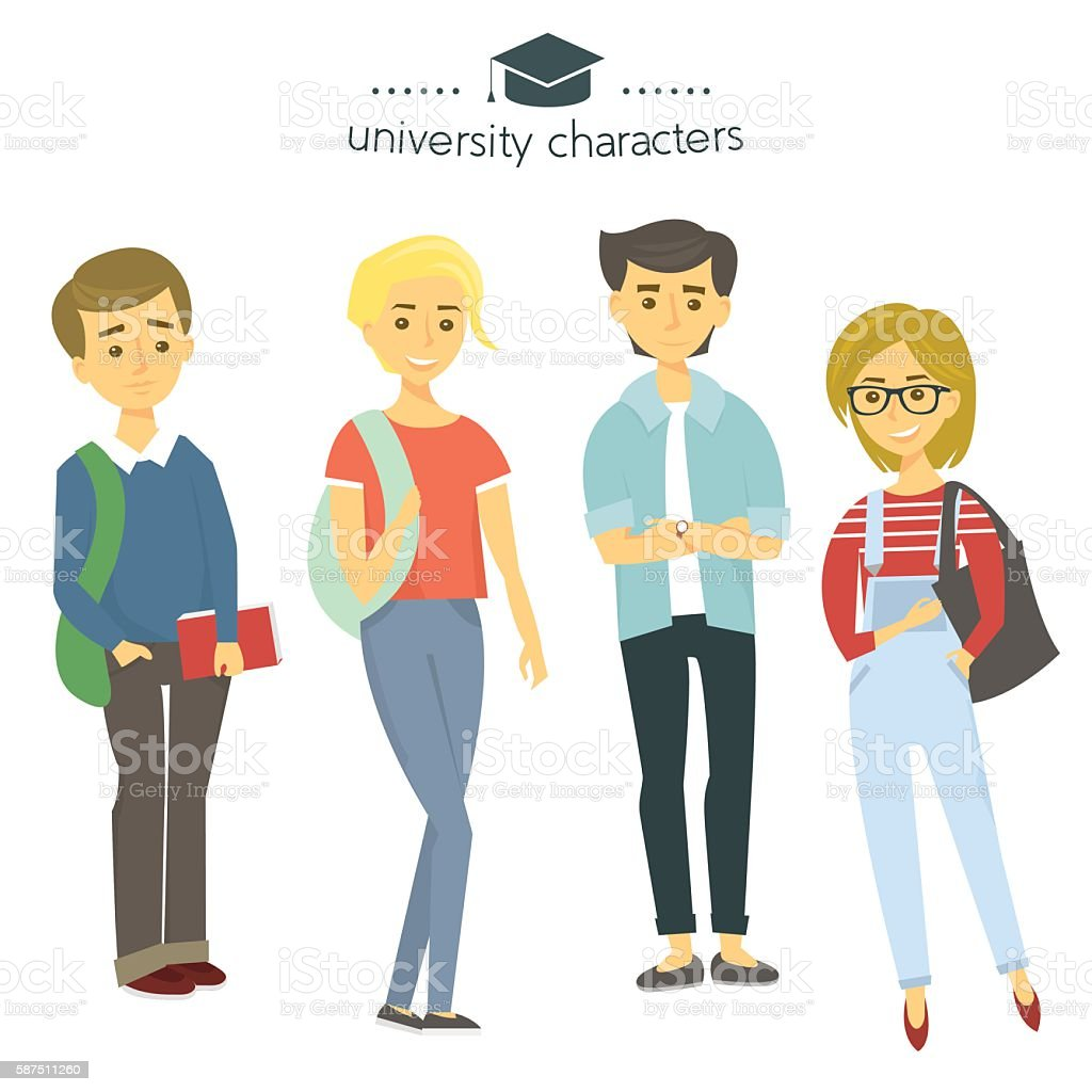 Student group isolated on white. University characters. Students with books. vector art illustration