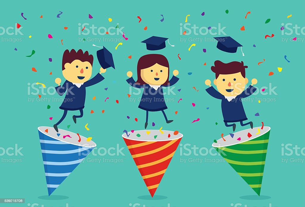 Student in academic dress exploding out of party popper. vector art illustration
