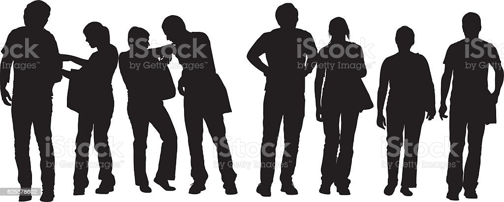 Student in various action vector art illustration