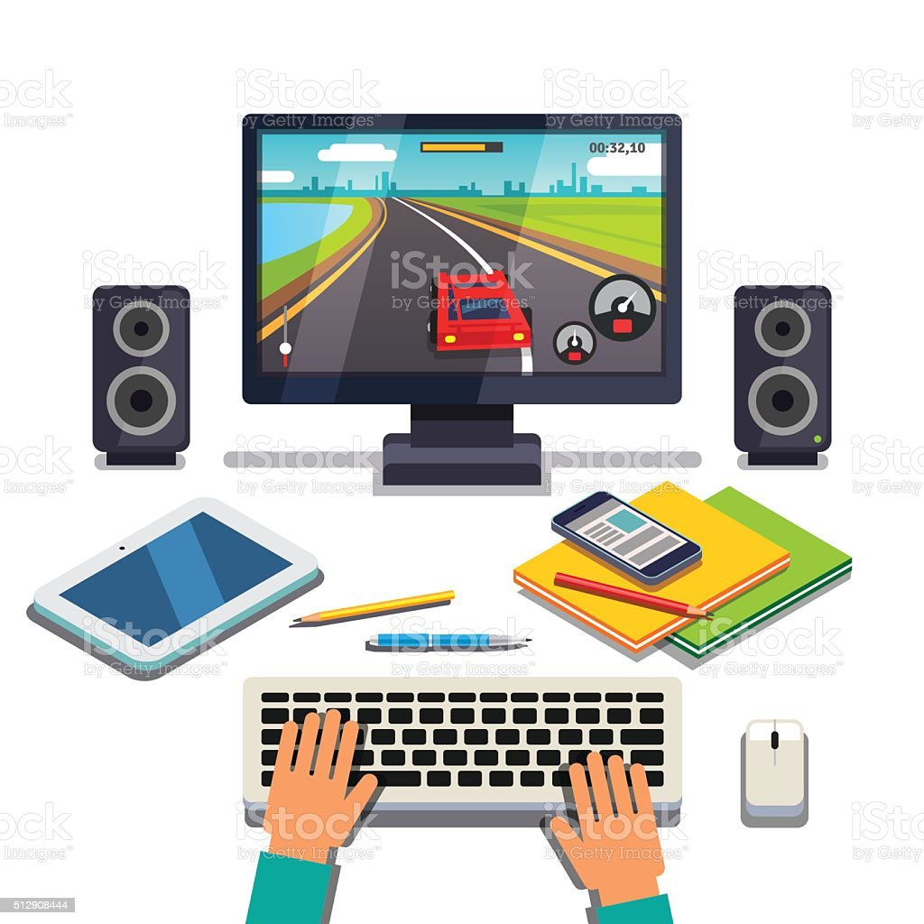 Student is gaming on a desktop computer pc vector art illustration