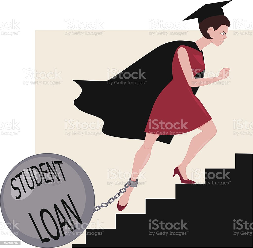 Student loan burden vector art illustration