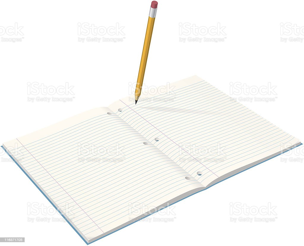 Student Notebook & Pencil royalty-free stock vector art