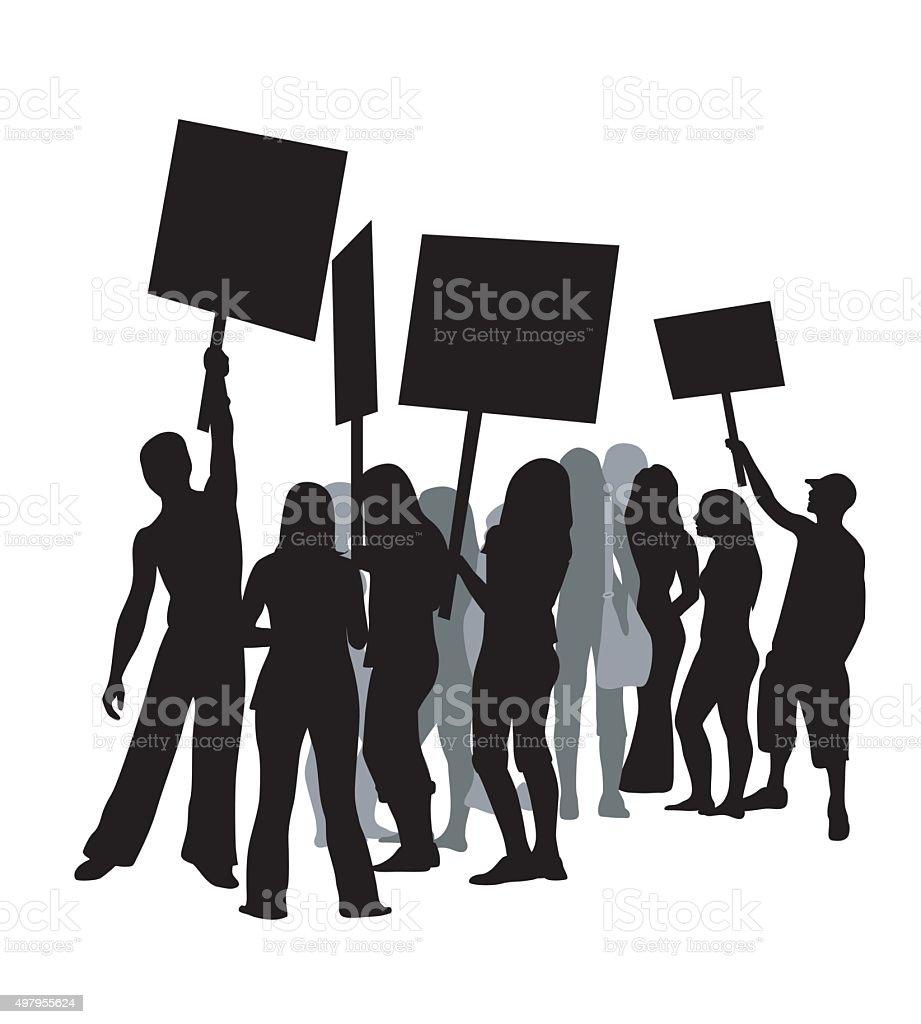 Student Protest vector art illustration