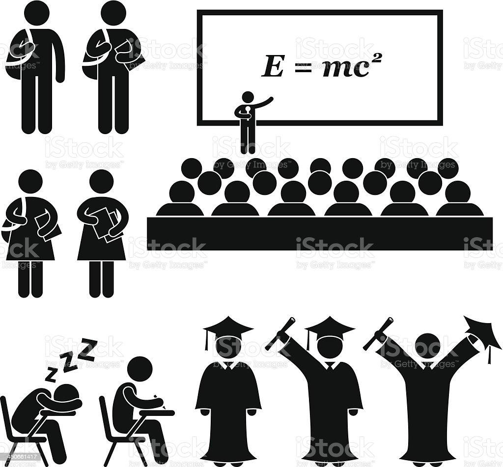 Student School College University Stick Figure Pictogram vector art illustration