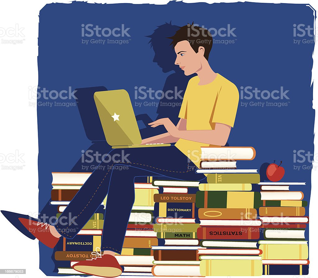 Student studying for an exam royalty-free stock vector art
