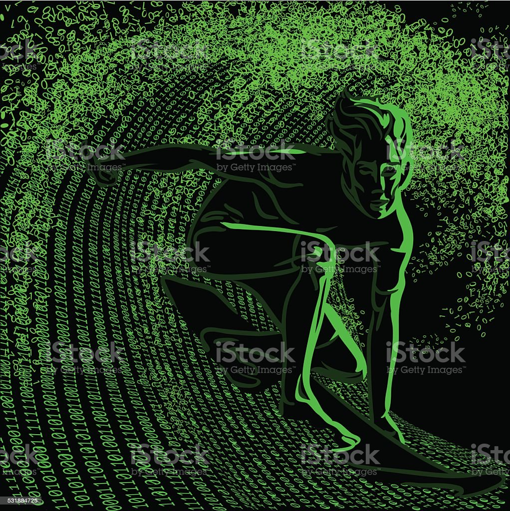 Student surfing the wave of digital information in the internet. vector art illustration