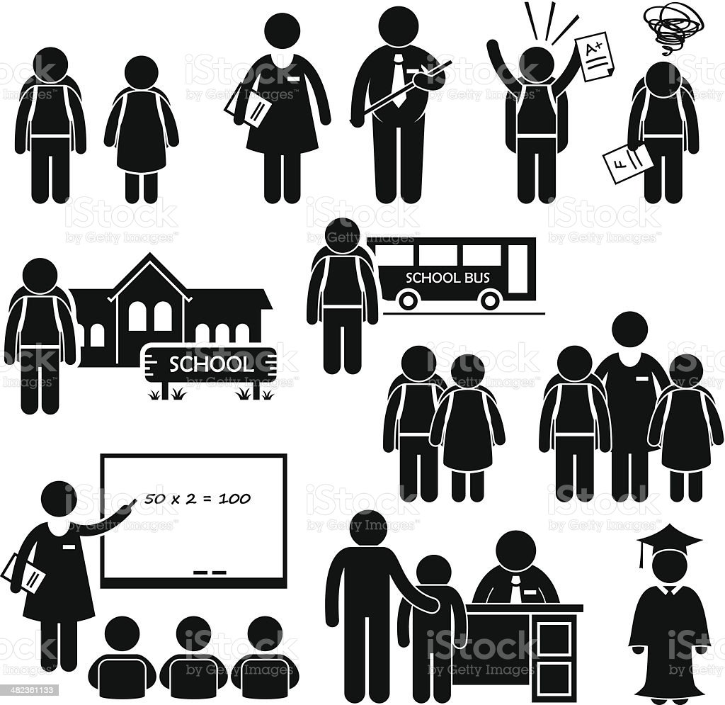 Student Teacher Headmaster School Children Stick Figure Pictogram Icon Clipart vector art illustration